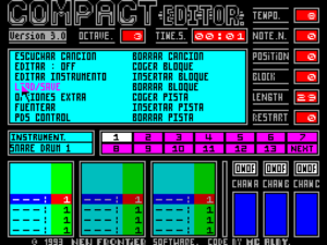Compact Editor on the ZX Spectrum, created by Gonzalez to compose for many platforms.