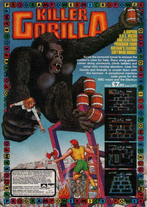 Killer Gorilla annons (BBC Micro, Amstrad CPC)